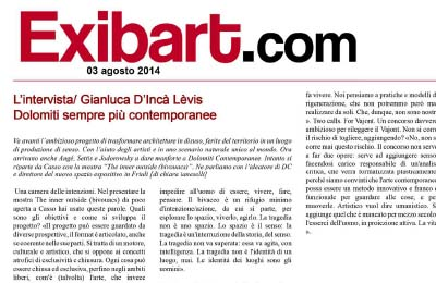 3 agosto 2014, EXIBART - intervista e the inner ouside