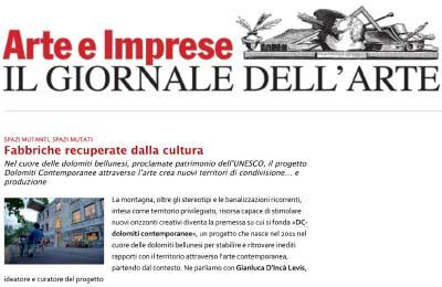 5 luglio 2014, Il Giornale Dell'Arte_Arte E Imprese, intervista, progetto dc, twocalls, progetto borca, maclab
