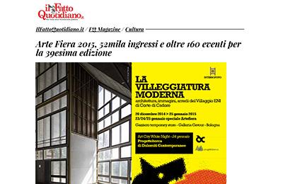 28 gennaio, Il Fatto Quotidiano - Arte Fiera 2015, 52mila ingressi e oltre 169 eventi per la 39esima edizione