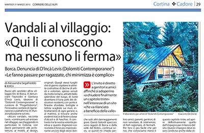 March 31, Corriere delle Alpi - Vandali al villaggio: ≪Qui li conoscono ma nessuno li ferma≫