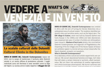 01 maggio, Il Giornale dell'arte/Vedere a Venezia e in Veneto - Le scalate culturali delle Dolomiti