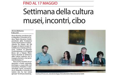 07 maggio, Corriere delle Alpi - Settimana della cultura: musei, incontri, cibo