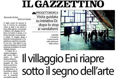May 8, Il Gazzettino - Il Villaggio Eni riapre sotto il segno dell'arte