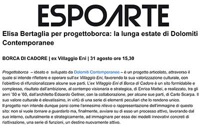 29 agosto, Espoarte - Elisa Bertaglia per progettoborca: la lunga estate di Dolomiti Contemporanee