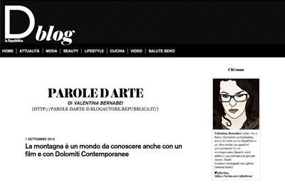 September 1, D blog - La Repubblica - La montagna è un mondo da conoscere anche con un fil e con Dolomiti Contemporanee