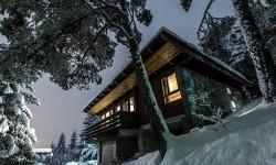 Ville di notte in inverno.