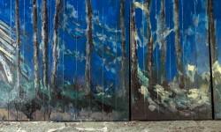 Gino Blanc, pannelli metallici pinti (ritratto di un pezzo di bosco) - Foto Giacomo De Donà
