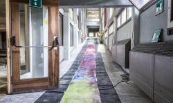 Moras, prima fase per un site specific, olio su carta, ca. 15 m, 2014 - Foto Giacomo De Donà
