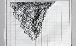 Merge della nuvola di punti del Pelmo e di dwg dell'Aula Magna. Stampato su movimento di cassa con rotring 0.8 e china nera.